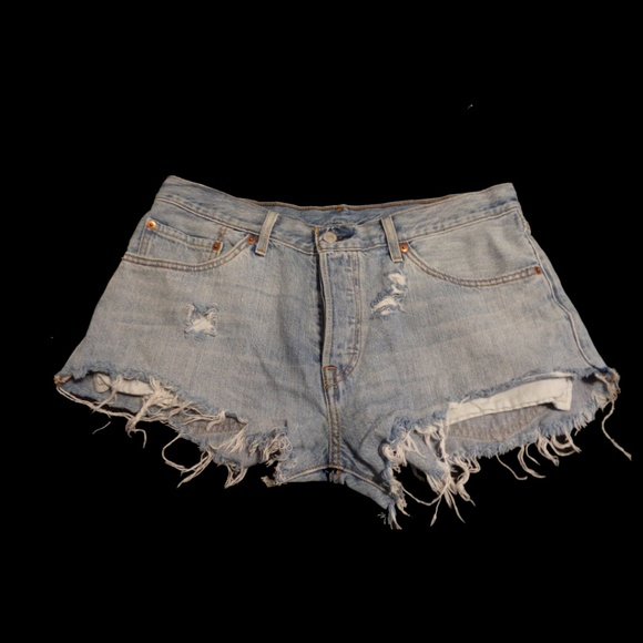 Levi's Pants - Lightwash Distressed Levi 501 Cutoffs